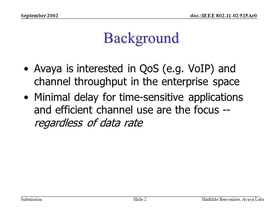 doc.:IEEE 802.11-02/525Ar0 Submission September 2002 Mathilde Benveniste, Avaya Labs Slide 2 Background Avaya is interested in QoS (e.g.