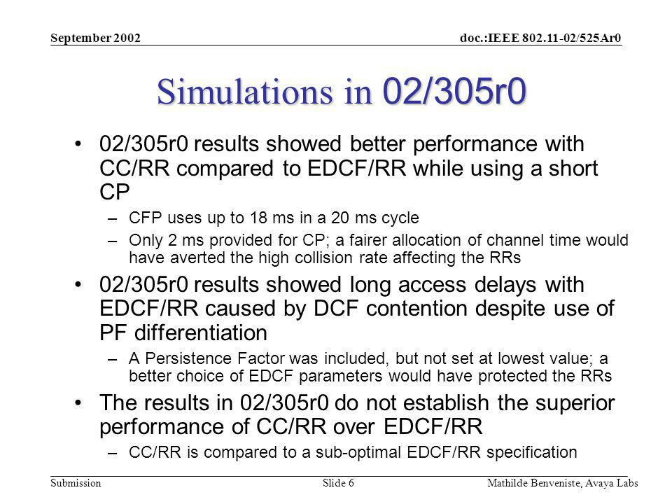 doc.:IEEE 802.11-02/525Ar0 Submission September 2002 Mathilde Benveniste, Avaya Labs Slide 6 Simulations in 02/305r0 02/305r0 results showed better performance with CC/RR compared to EDCF/RR while using a short CP –CFP uses up to 18 ms in a 20 ms cycle –Only 2 ms provided for CP; a fairer allocation of channel time would have averted the high collision rate affecting the RRs 02/305r0 results showed long access delays with EDCF/RR caused by DCF contention despite use of PF differentiation –A Persistence Factor was included, but not set at lowest value; a better choice of EDCF parameters would have protected the RRs The results in 02/305r0 do not establish the superior performance of CC/RR over EDCF/RR –CC/RR is compared to a sub-optimal EDCF/RR specification