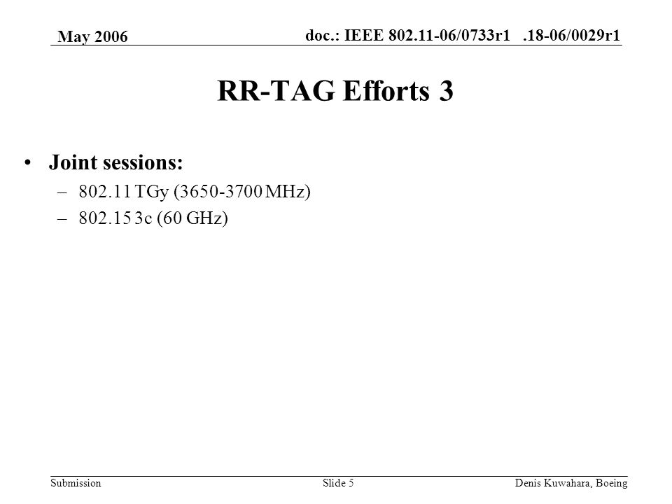 doc.: IEEE /0733r /0029r1 Submission May 2006 Denis Kuwahara, BoeingSlide 5 RR-TAG Efforts 3 Joint sessions: – TGy ( MHz) – c (60 GHz)
