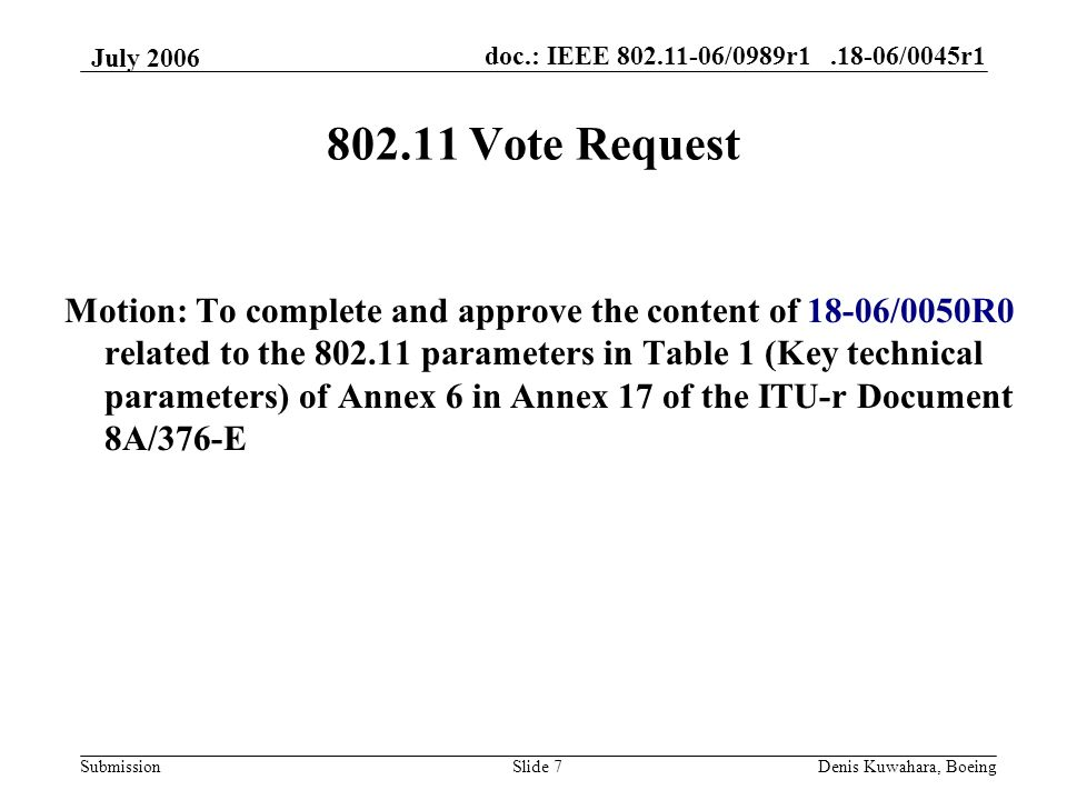doc.: IEEE 802.11-06/0989r1.18-06/0045r1 Submission July 2006 Denis Kuwahara, BoeingSlide 7 802.11 Vote Request Motion: To complete and approve the content of 18-06/0050R0 related to the 802.11 parameters in Table 1 (Key technical parameters) of Annex 6 in Annex 17 of the ITU-r Document 8A/376-E
