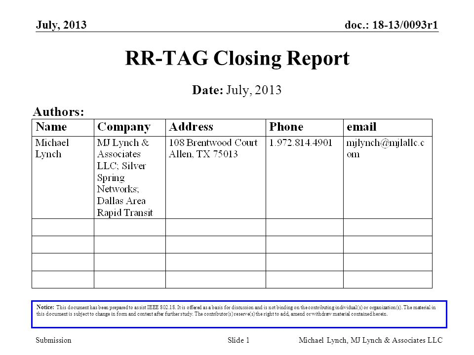 doc.: 18-13/0093r1 Submission July, 2013 Michael Lynch, MJ Lynch & Associates LLCSlide 1 RR-TAG Closing Report Notice: This document has been prepared to assist IEEE 802.18.