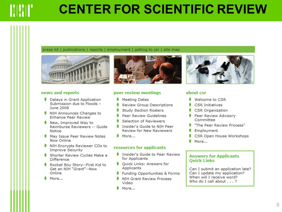 CENTER FOR SCIENTIFIC REVIEW 8