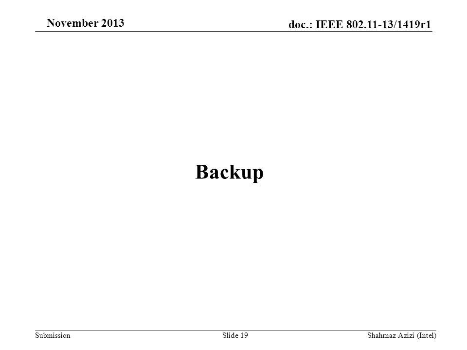 doc.: IEEE 802.11-13/1419r1 Submission November 2013 Backup Slide 19Shahrnaz Azizi (Intel)