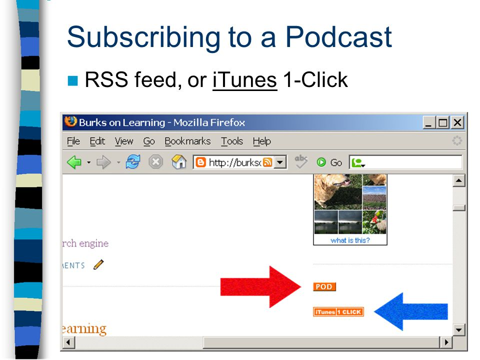 Subscribing to a Podcast RSS feed, or iTunes 1-ClickiTunes
