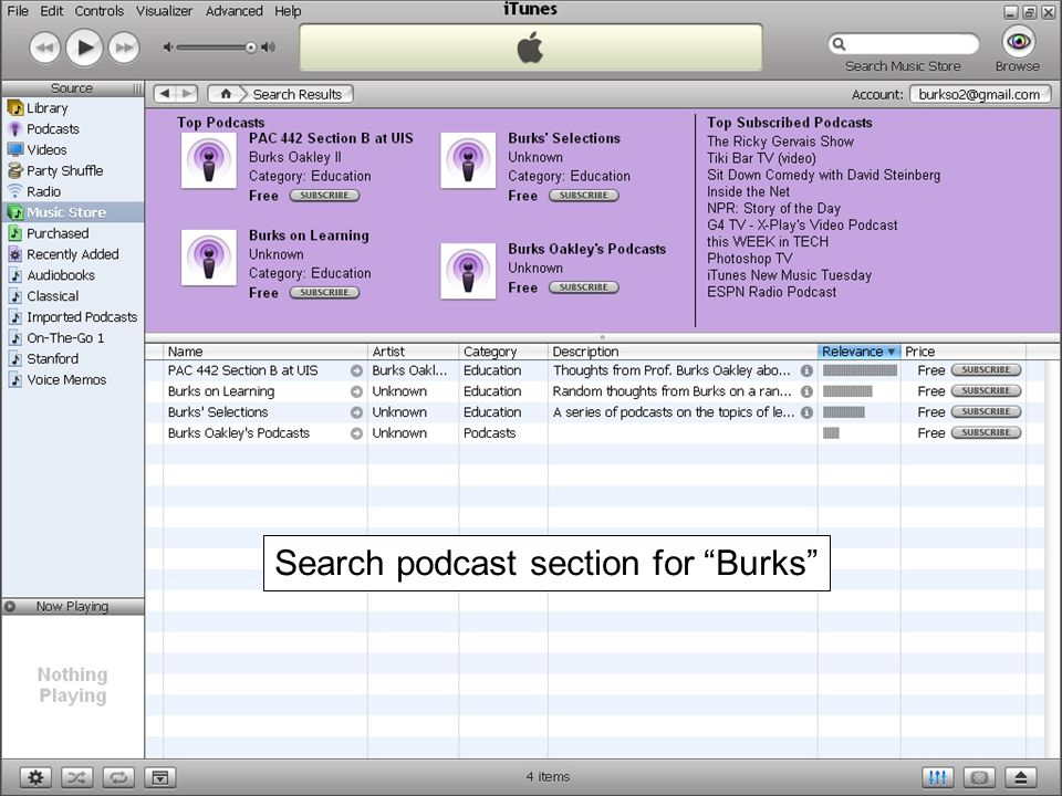Search podcast section for Burks