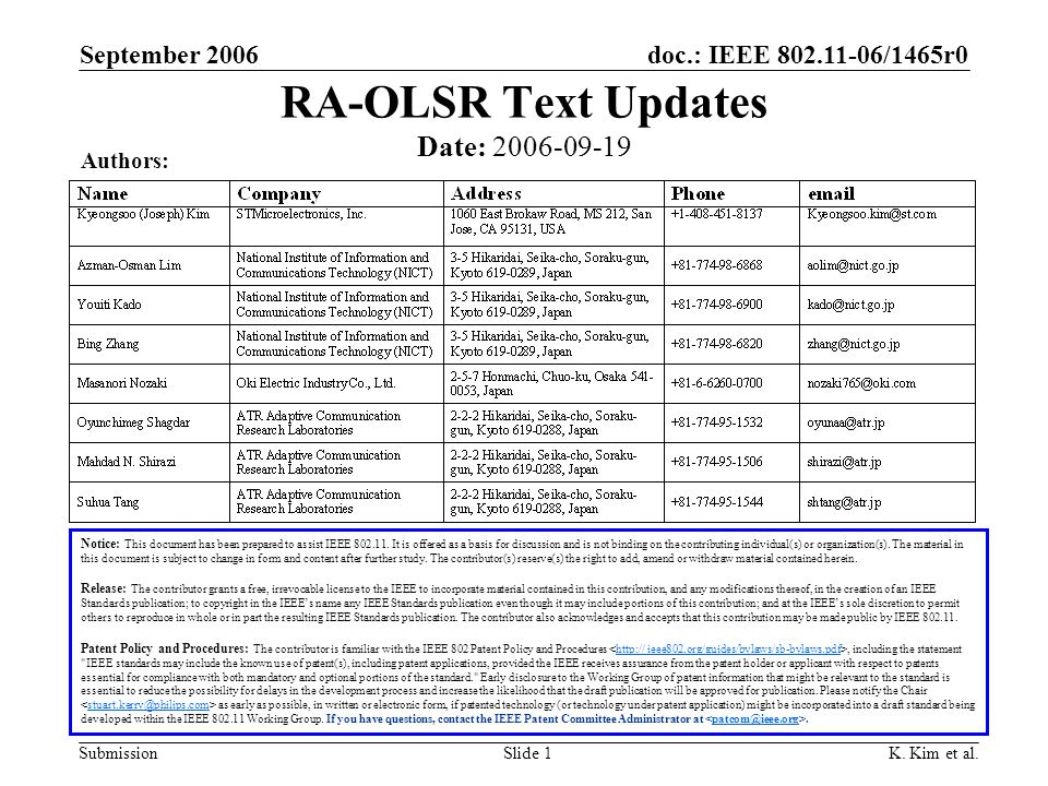 doc.: IEEE 802.11-06/1465r0 Submission September 2006 K.