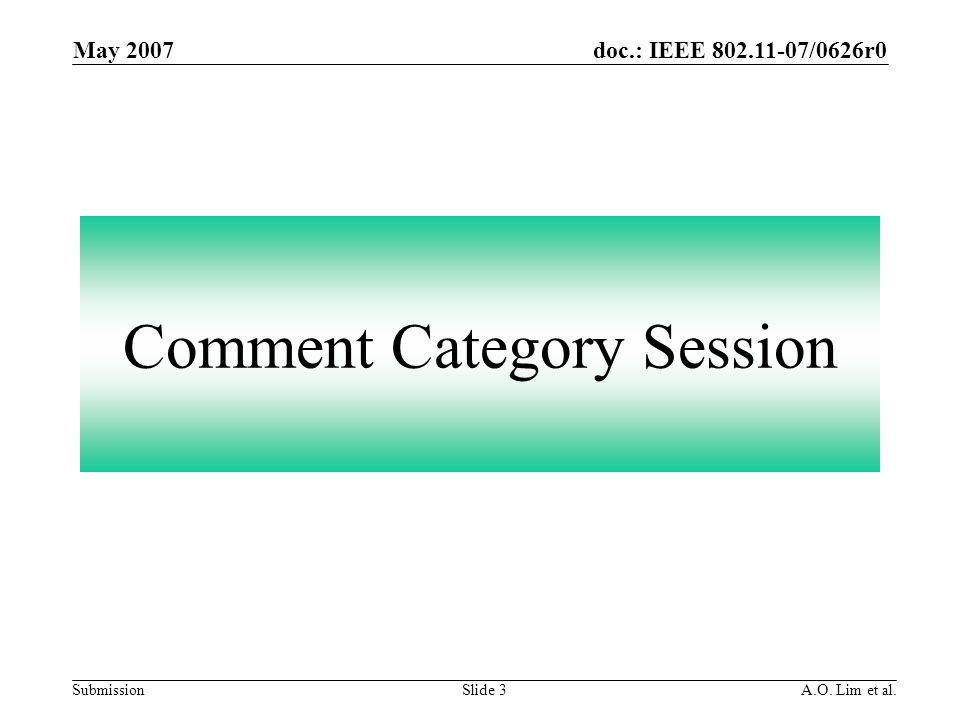doc.: IEEE 802.11-07/0626r0 Submission May 2007 A.O. Lim et al.Slide 3 Comment Category Session