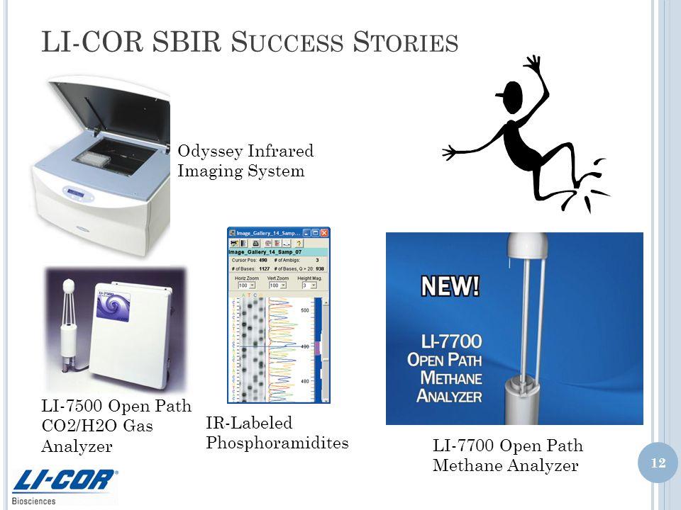 LI-COR SBIR S UCCESS S TORIES LI-7500 Open Path CO2/H2O Gas Analyzer 12 Odyssey Infrared Imaging System IR-Labeled Phosphoramidites LI-7700 Open Path Methane Analyzer