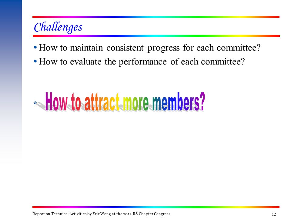 12 Challenges  How to maintain consistent progress for each committee?  How to evaluate the performance of each committee?  Report on Technical Act