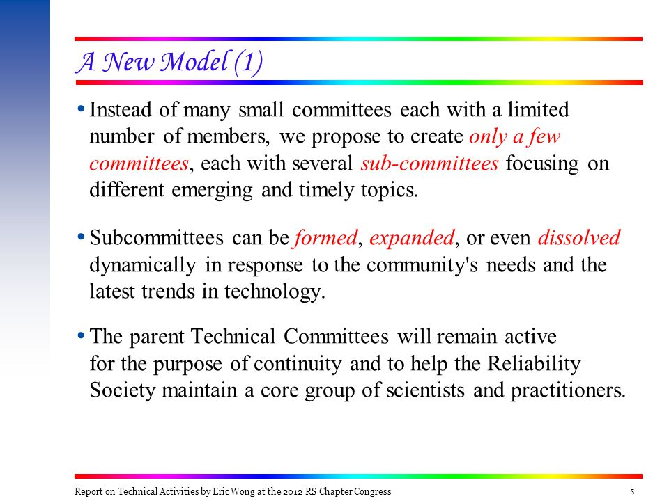 5555  Instead of many small committees each with a limited number of members, we propose to create only a few committees, each with several sub-committees focusing on different emerging and timely topics.