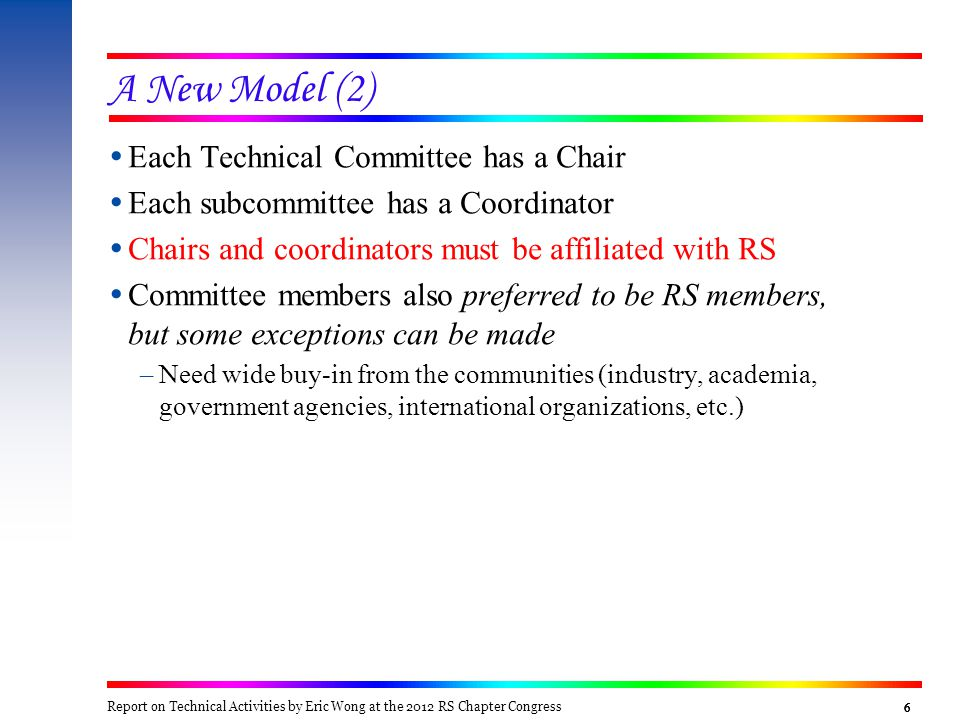 6666  Each Technical Committee has a Chair  Each subcommittee has a Coordinator  Chairs and coordinators must be affiliated with RS  Committee mem