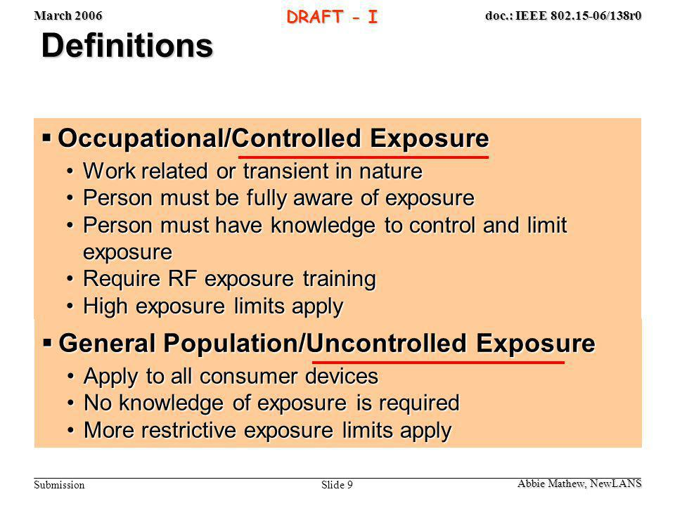 March 2006 Slide 9 doc.: IEEE 802.15-06/138r0 Submission DRAFT - I Definitions  Occupational/Controlled Exposure Work related or transient in natureWork related or transient in nature Person must be fully aware of exposurePerson must be fully aware of exposure Person must have knowledge to control and limit exposurePerson must have knowledge to control and limit exposure Require RF exposure trainingRequire RF exposure training High exposure limits applyHigh exposure limits apply Abbie Mathew, NewLANS  General Population/Uncontrolled Exposure Apply to all consumer devicesApply to all consumer devices No knowledge of exposure is requiredNo knowledge of exposure is required More restrictive exposure limits applyMore restrictive exposure limits apply