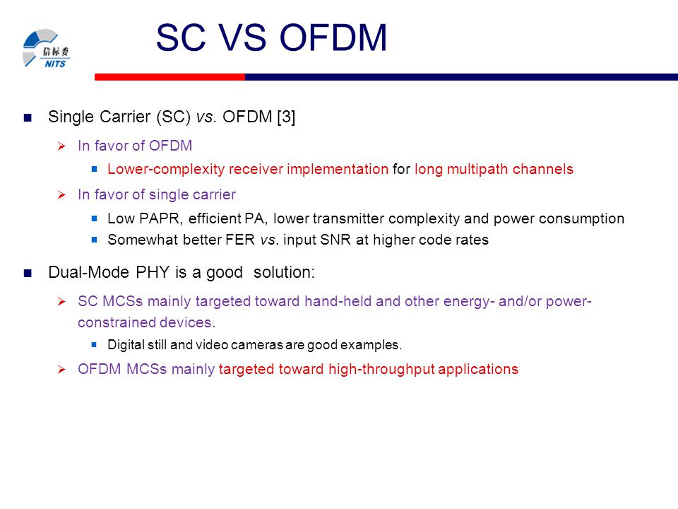 NITS-10-xxx-xx-WPAN SC VS OFDM Single Carrier (SC) vs. OFDM [3]  In favor of OFDM  Lower-complexity receiver implementation for long multipath chann