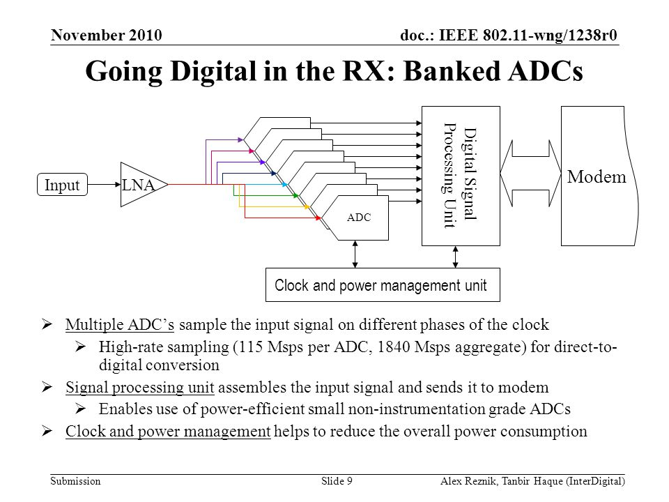 doc.: IEEE wng/1238r0 Submission Going Digital in the RX: Banked ADCs November 2010 Alex Reznik, Tanbir Haque (InterDigital)Slide 9 ADC LNA ADC Input Digital Signal Processing Unit Clock and power management unit Modem t  Multiple ADC's sample the input signal on different phases of the clock  High-rate sampling (115 Msps per ADC, 1840 Msps aggregate) for direct-to- digital conversion  Signal processing unit assembles the input signal and sends it to modem  Enables use of power-efficient small non-instrumentation grade ADCs  Clock and power management helps to reduce the overall power consumption