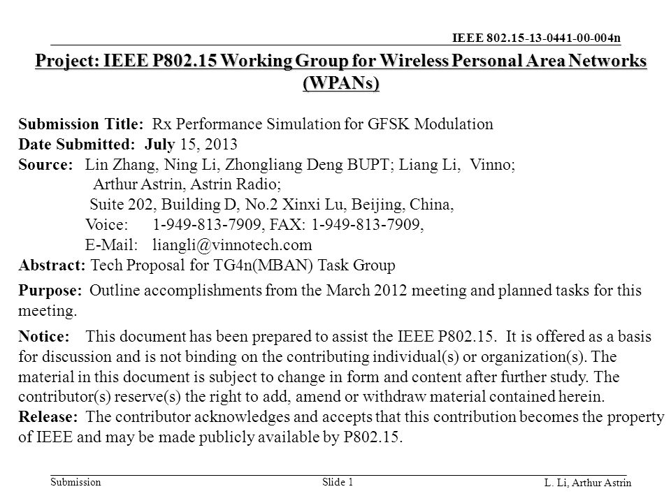 IEEE 802.15-13-0441-00-004n Submission L.