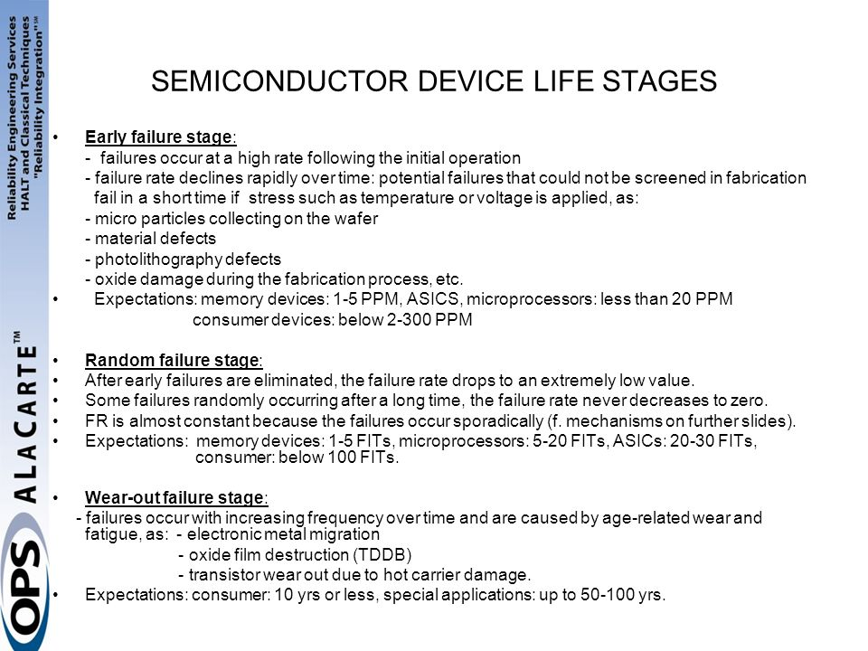 SEMICONDUCTOR DEVICE LIFE STAGES Early failure stage: - failures occur at a high rate following the initial operation - failure rate declines rapidly