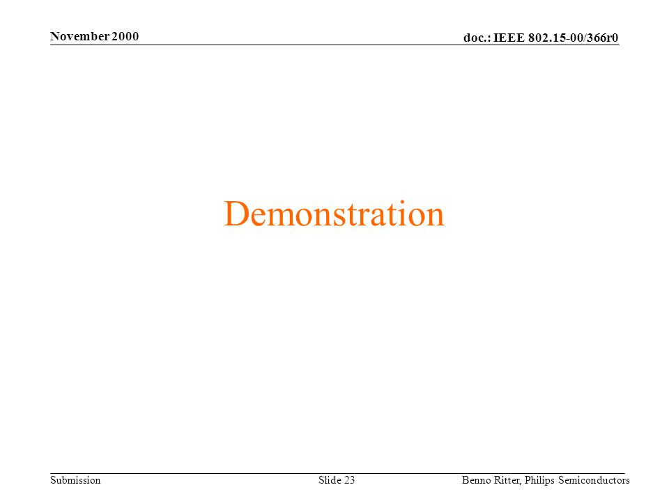 doc.: IEEE 802.15-00/366r0 Submission November 2000 Benno Ritter, Philips SemiconductorsSlide 23 Demonstration