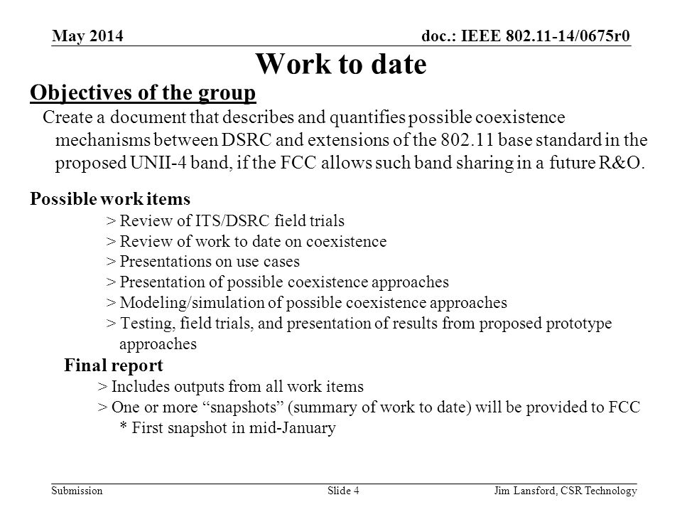 doc.: IEEE 802.11-14/0675r0 Submission Work to date Objectives of the group Create a document that describes and quantifies possible coexistence mecha