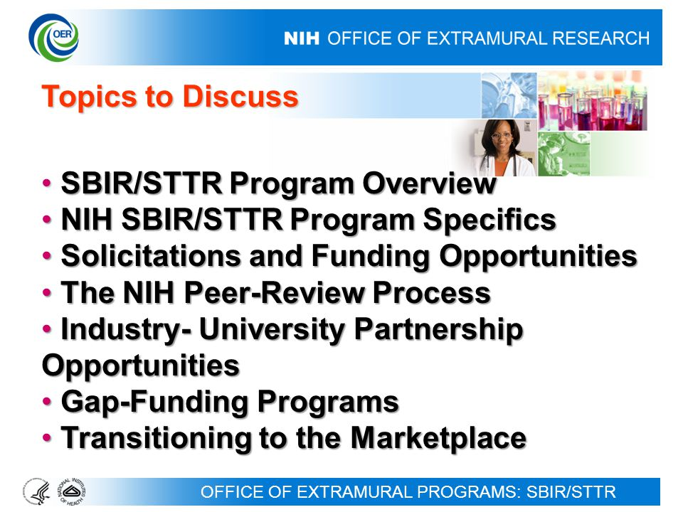 64 Biomedical Research, Development, and Growth to Spur the Acceleration of New Technologies (BRDG-SPAN) Pilot Program Biomedical Research, Development, and Growth to Spur the Acceleration of New Technologies (BRDG-SPAN) Pilot Program Application Due Date: September 1, 2009 Activity Code: RC3 (Not SBIR/STTR) Purpose: To address the funding gap between promising research and development (R&D) and transitioning to the market -- often called the Valley of Death -- by contributing to the critical funding needed to pursue the next appropriate milestone(s) toward ultimate commercialization; i.e., to carry out later stage research activities necessary to that end.