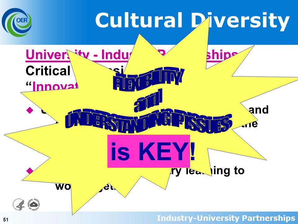 "51 Cultural Diversity University - Industry Partnerships University - Industry Partnerships Critical dimension of the new ""Innovation-based Economy"" u"