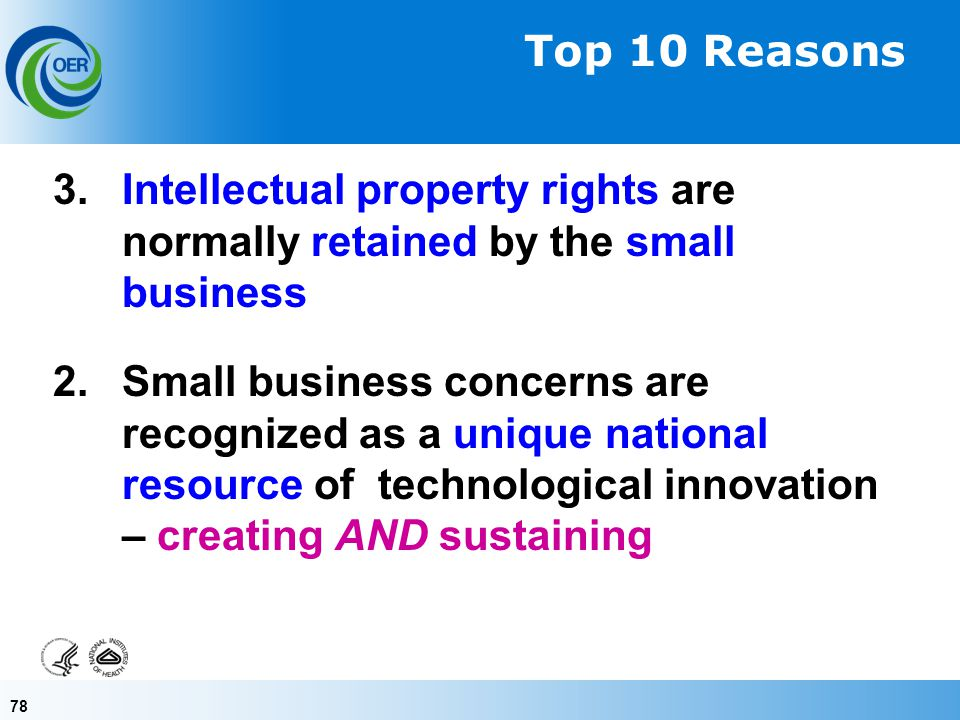 78 3. Intellectual property rights are normally retained by the small business 2.