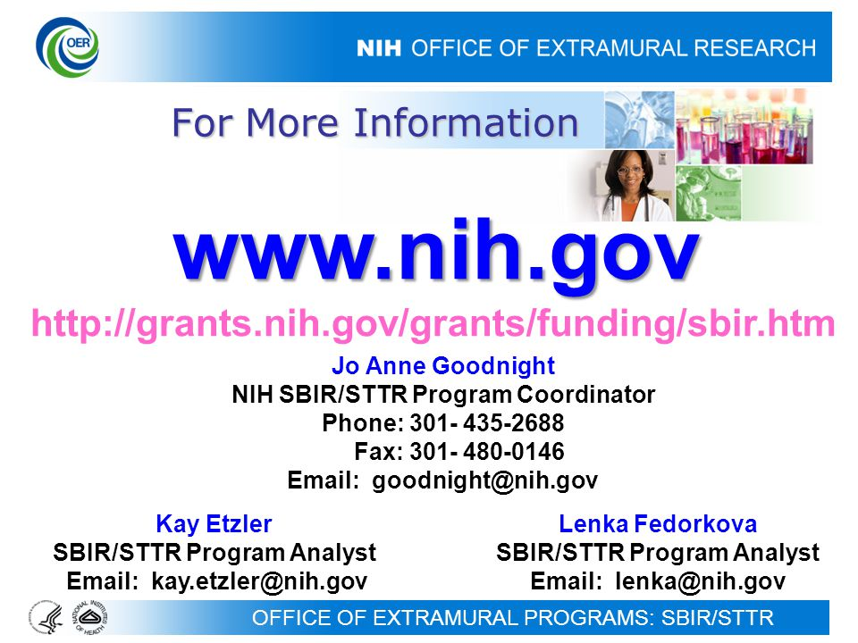OFFICE OF EXTRAMURAL PROGRAMS: SBIR/STTR For More Information     Jo Anne Goodnight NIH SBIR/STTR Program Coordinator Phone: Fax: Kay Etzler SBIR/STTR Program Analyst   Lenka Fedorkova SBIR/STTR Program Analyst