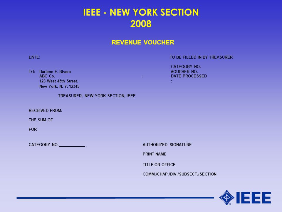 IEEE - NEW YORK SECTION 2008 REVENUE VOUCHER DATE:TO BE FILLED IN BY TREASURER CATEGORY NO.
