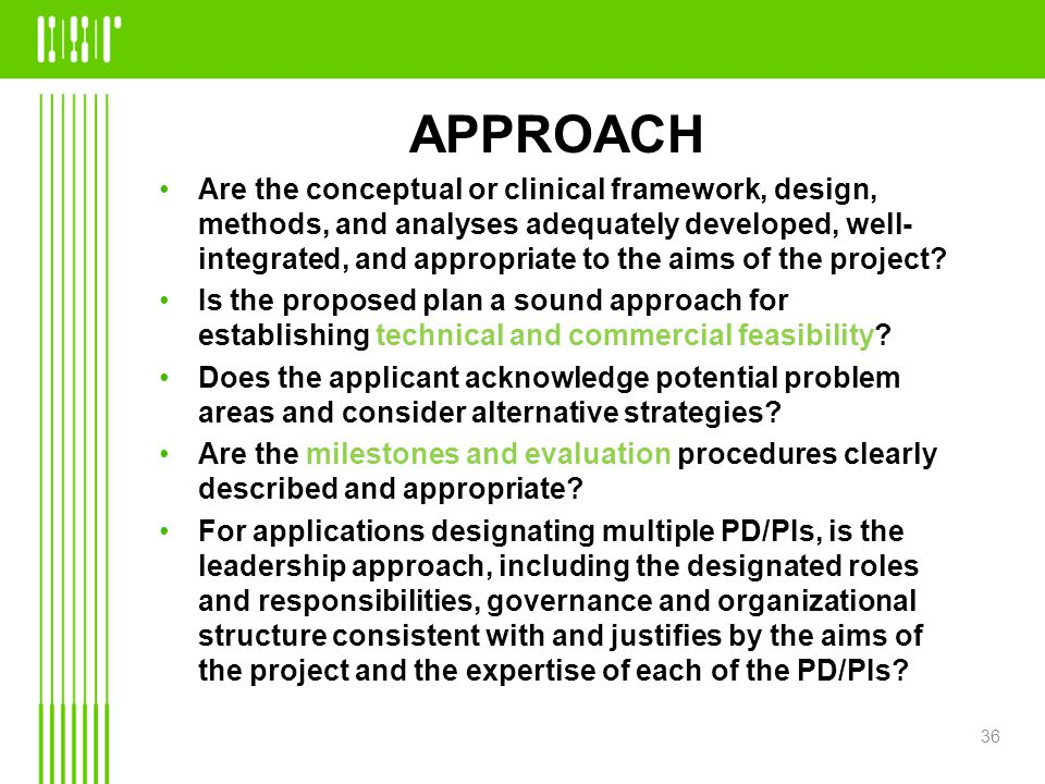 APPROACH Are the conceptual or clinical framework, design, methods, and analyses adequately developed, well- integrated, and appropriate to the aims of the project.