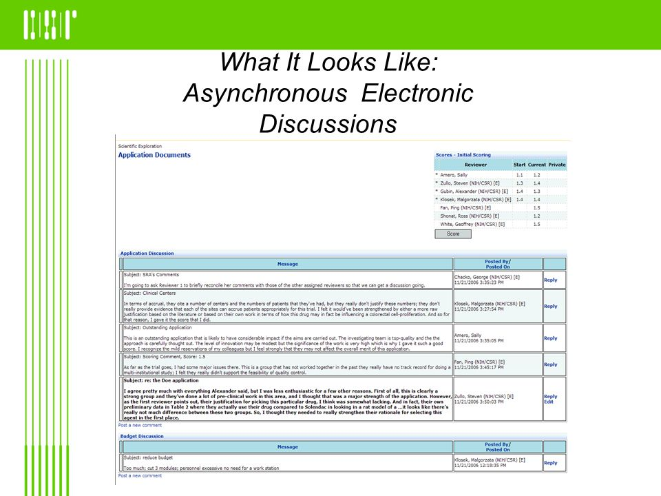 What It Looks Like: Asynchronous Electronic Discussions