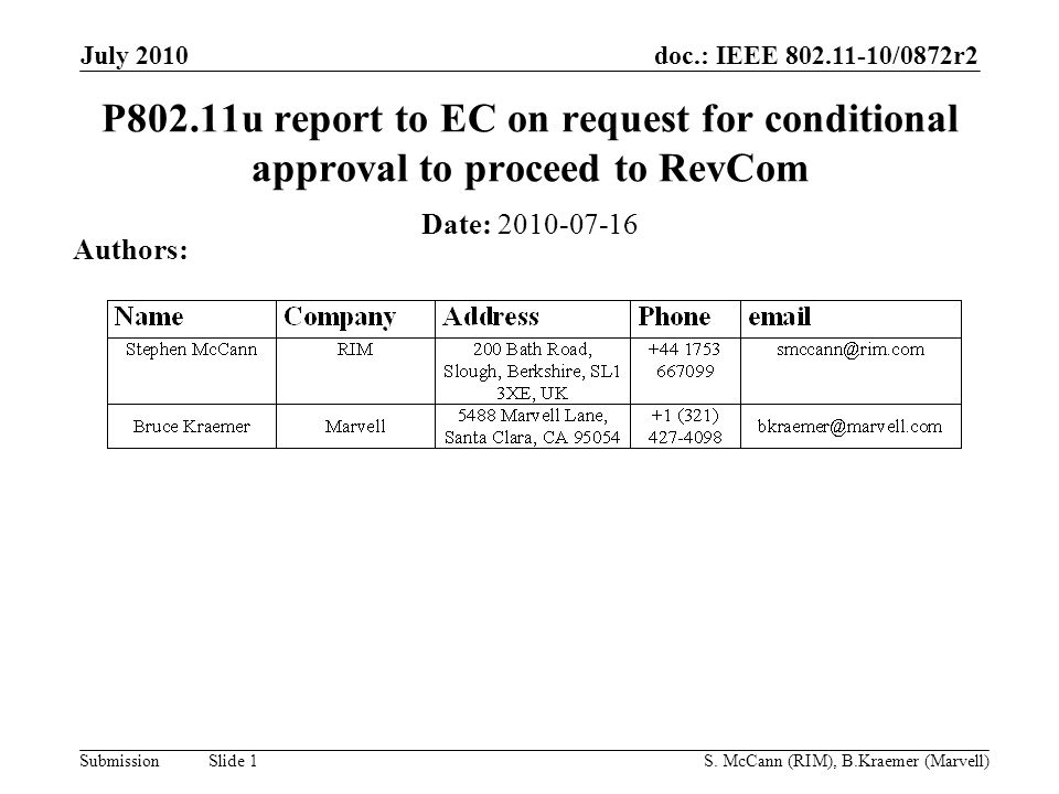 doc.: IEEE 802.11-10/0872r2 Submission July 2010 S.