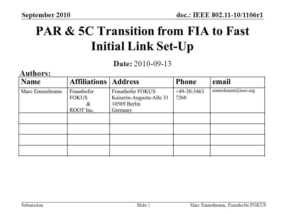 doc.: IEEE 802.11-10/1106r1 Submission September 2010 Marc Emmelmann, Fraunhofer FOKUSSlide 1 PAR & 5C Transition from FIA to Fast Initial Link Set-Up
