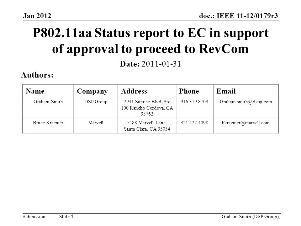 doc.: IEEE 11-12/0179r3 SubmissionGraham Smith (DSP Group), Slide 1 P802.11aa Status report to EC in support of approval to proceed to RevCom Date: 2011-01-31 Authors: NameCompanyAddressPhoneEmail Graham SmithDSP Group2941 Sunrise Blvd, Ste 100 Rancho Cordova, CA 95762 916 379 8709Graham.smith@dspg.com Bruce KraemerMarvell5488 Marvell Lane, Santa Clara, CA 95054 321 427 4098bkraemer@marvell.com Jan 2012