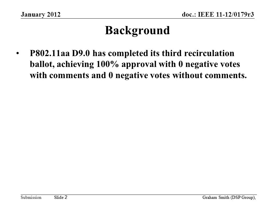 doc.: IEEE 11-12/0179r3 Submission January 2012 Slide 2 Graham Smith (DSP Group), Slide 2 Background P802.11aa D9.0 has completed its third recirculation ballot, achieving 100% approval with 0 negative votes with comments and 0 negative votes without comments.