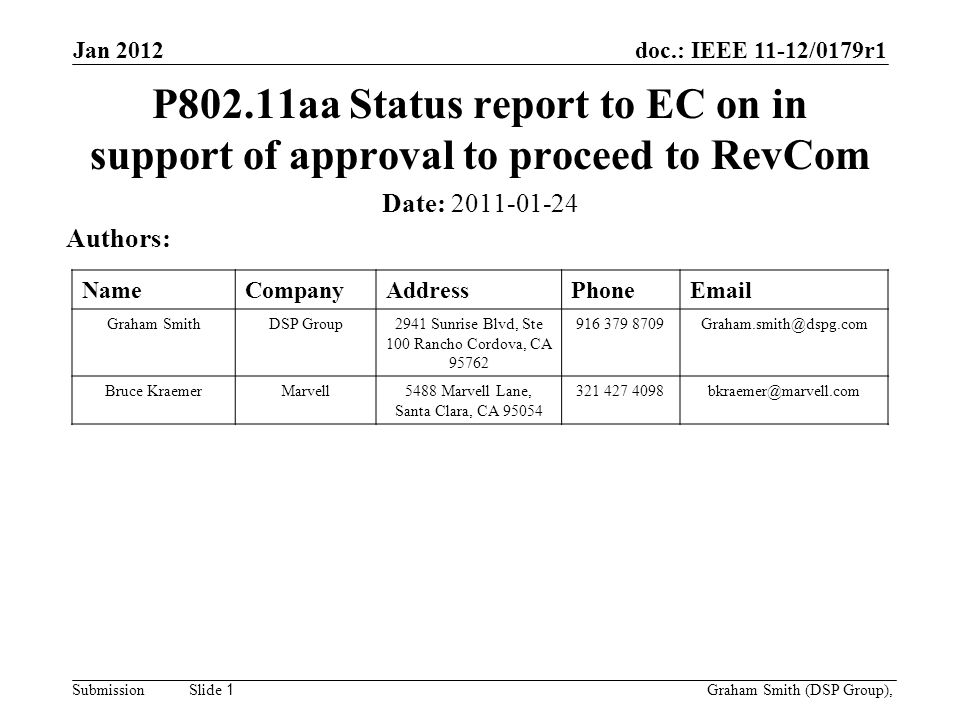 doc.: IEEE 11-12/0179r1 SubmissionGraham Smith (DSP Group), Slide 1 P802.11aa Status report to EC on in support of approval to proceed to RevCom Date: Authors: NameCompanyAddressPhone Graham SmithDSP Group2941 Sunrise Blvd, Ste 100 Rancho Cordova, CA Bruce KraemerMarvell5488 Marvell Lane, Santa Clara, CA Jan 2012