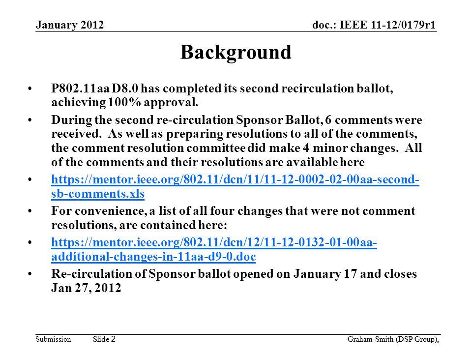 doc.: IEEE 11-12/0179r1 Submission January 2012 Slide 2 Graham Smith (DSP Group), Slide 2 Background P802.11aa D8.0 has completed its second recirculation ballot, achieving 100% approval.