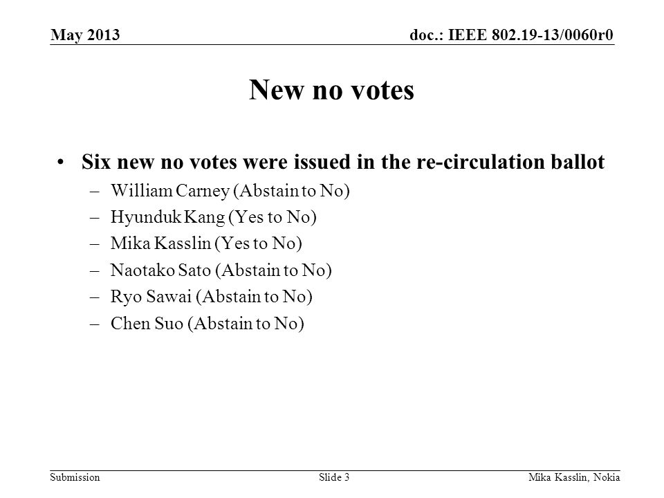doc.: IEEE 802.19-13/0060r0 Submission New no votes Six new no votes were issued in the re-circulation ballot –William Carney (Abstain to No) –Hyunduk Kang (Yes to No) –Mika Kasslin (Yes to No) –Naotako Sato (Abstain to No) –Ryo Sawai (Abstain to No) –Chen Suo (Abstain to No) May 2013 Mika Kasslin, NokiaSlide 3