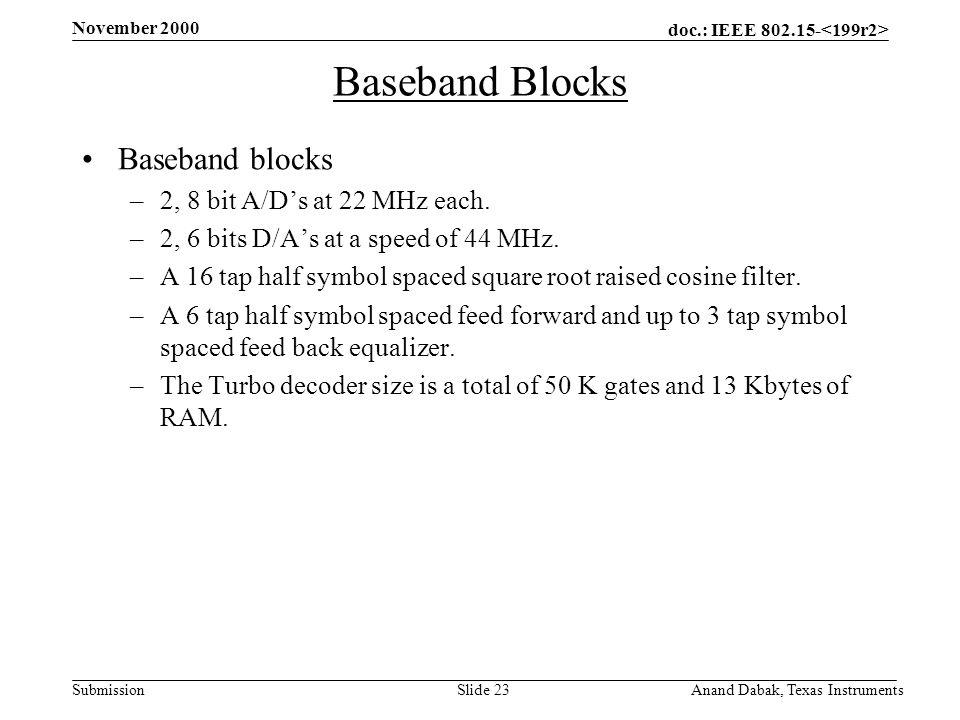 doc.: IEEE 802.15- Submission November 2000 Anand Dabak, Texas InstrumentsSlide 23 Baseband Blocks Baseband blocks –2, 8 bit A/D's at 22 MHz each.