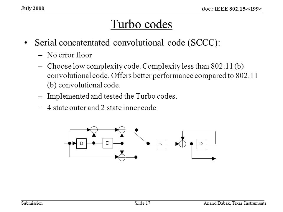 doc.: IEEE 802.15- Submission July 2000 Anand Dabak, Texas InstrumentsSlide 17 Turbo codes Serial concatentated convolutional code (SCCC): –No error floor –Choose low complexity code.