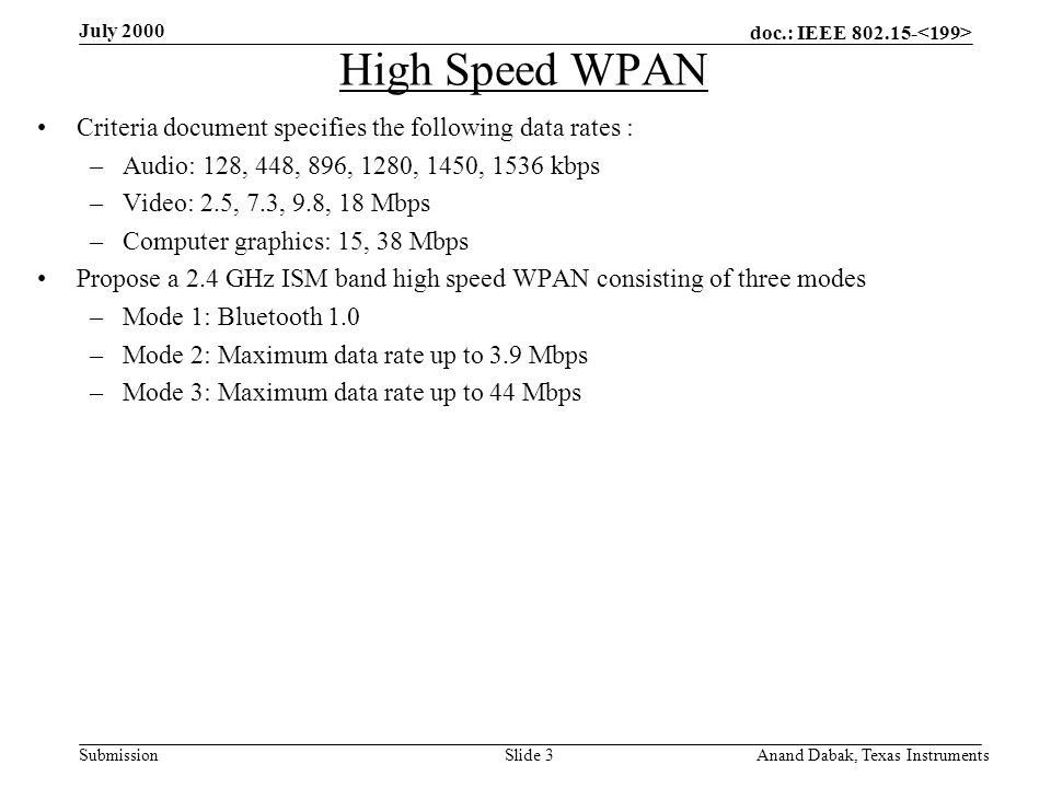 doc.: IEEE 802.15- Submission July 2000 Anand Dabak, Texas InstrumentsSlide 3 High Speed WPAN Criteria document specifies the following data rates : –Audio: 128, 448, 896, 1280, 1450, 1536 kbps –Video: 2.5, 7.3, 9.8, 18 Mbps –Computer graphics: 15, 38 Mbps Propose a 2.4 GHz ISM band high speed WPAN consisting of three modes –Mode 1: Bluetooth 1.0 –Mode 2: Maximum data rate up to 3.9 Mbps –Mode 3: Maximum data rate up to 44 Mbps