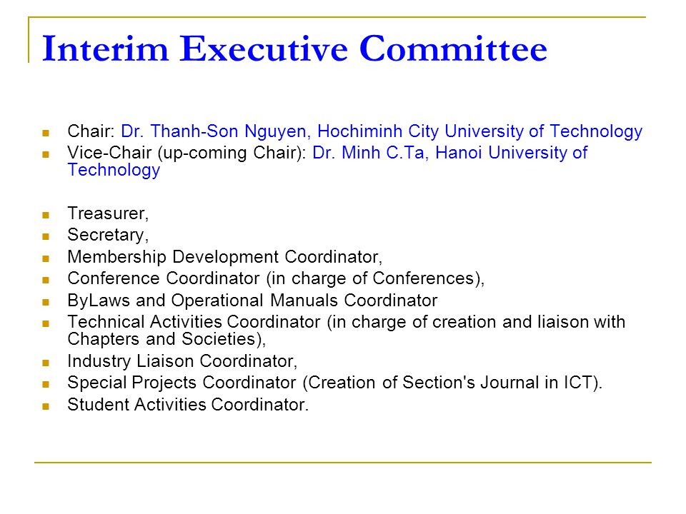 Interim Executive Committee Chair: Dr.