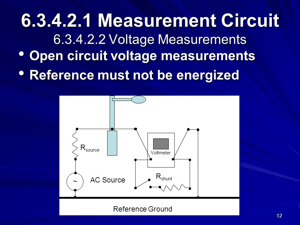12 6.3.4.2.1 Measurement Circuit 6.3.4.2.2 Voltage Measurements Open circuit voltage measurements Open circuit voltage measurements Reference must not be energized Reference must not be energized ~ AC Source R source R shunt Reference Ground Voltmeter
