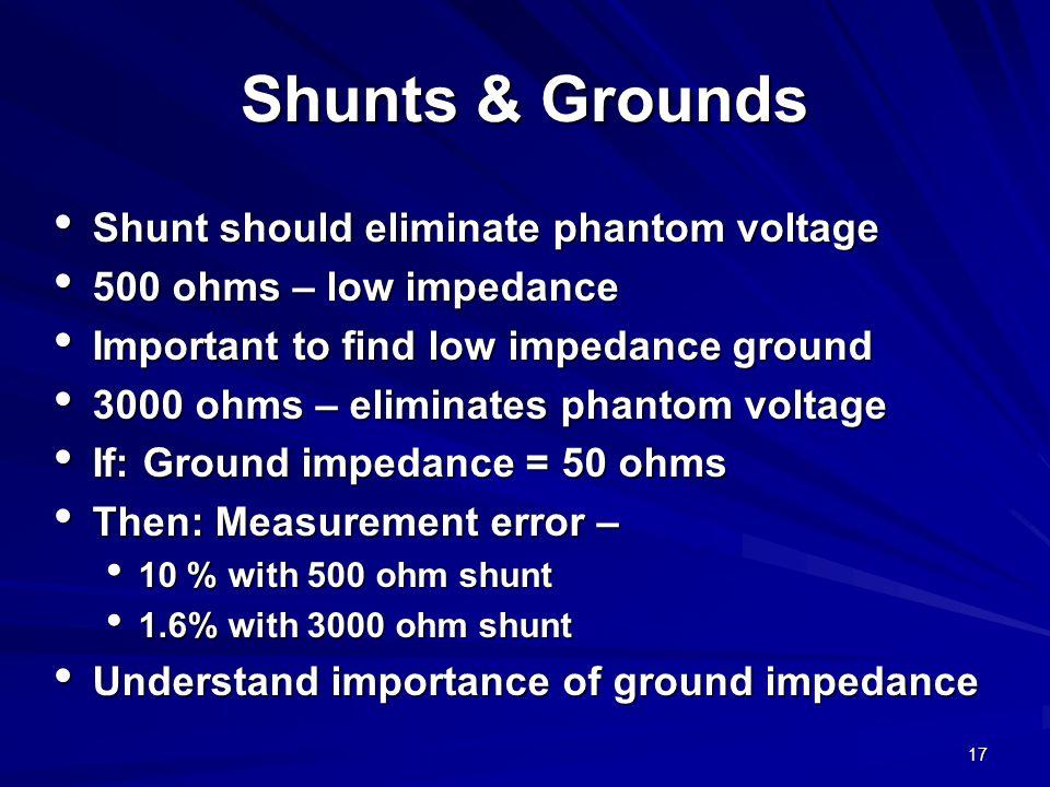 17 Shunts & Grounds Shunt should eliminate phantom voltage Shunt should eliminate phantom voltage 500 ohms – low impedance 500 ohms – low impedance Important to find low impedance ground Important to find low impedance ground 3000 ohms – eliminates phantom voltage 3000 ohms – eliminates phantom voltage If: Ground impedance = 50 ohms If: Ground impedance = 50 ohms Then: Measurement error – Then: Measurement error – 10 % with 500 ohm shunt 10 % with 500 ohm shunt 1.6% with 3000 ohm shunt 1.6% with 3000 ohm shunt Understand importance of ground impedance Understand importance of ground impedance