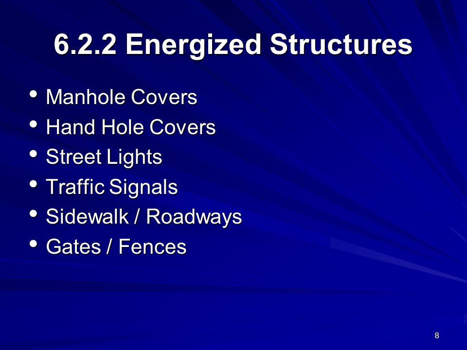 8 6.2.2 Energized Structures Manhole Covers Manhole Covers Hand Hole Covers Hand Hole Covers Street Lights Street Lights Traffic Signals Traffic Signals Sidewalk / Roadways Sidewalk / Roadways Gates / Fences Gates / Fences
