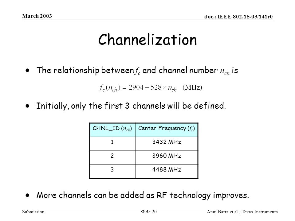 doc.: IEEE /141r0 Submission March 2003 Anuj Batra et al., Texas InstrumentsSlide 20 Channelization  The relationship between f c and channel number n ch is  Initially, only the first 3 channels will be defined.