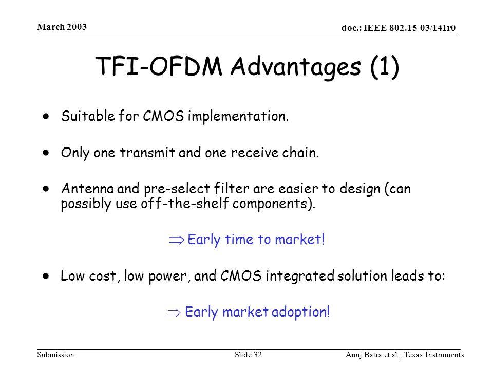 doc.: IEEE 802.15-03/141r0 Submission March 2003 Anuj Batra et al., Texas InstrumentsSlide 32 TFI-OFDM  Advantages (1)  Suitable for CMOS implementation.