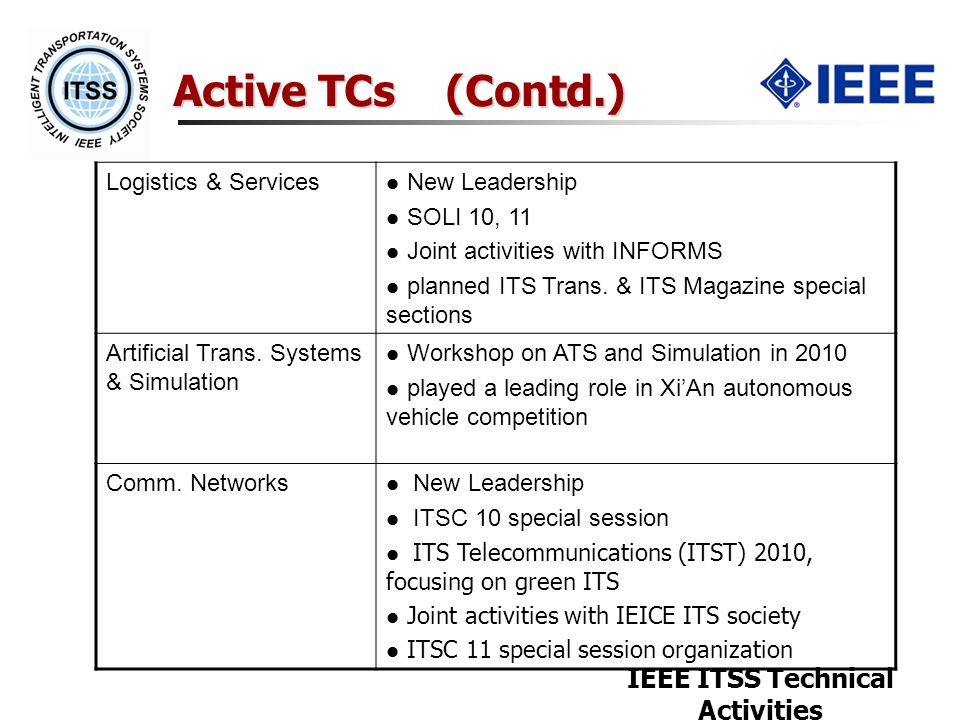 IEEE ITSS Technical Activities Active TCs (Contd.) Logistics & Services New Leadership SOLI 10, 11 Joint activities with INFORMS planned ITS Trans.