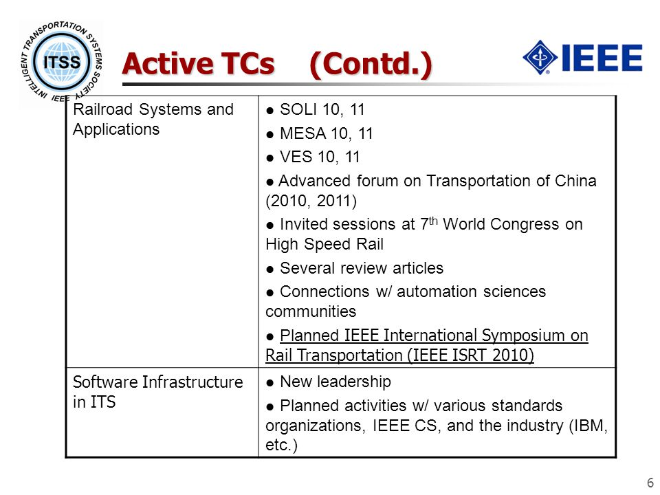 Active TCs (Contd.) 6 Railroad Systems and Applications SOLI 10, 11 MESA 10, 11 VES 10, 11 Advanced forum on Transportation of China (2010, 2011) Invited sessions at 7 th World Congress on High Speed Rail Several review articles Connections w/ automation sciences communities Planned IEEE International Symposium on Rail Transportation (IEEE ISRT 2010) Software Infrastructure in ITS New leadership Planned activities w/ various standards organizations, IEEE CS, and the industry (IBM, etc.)