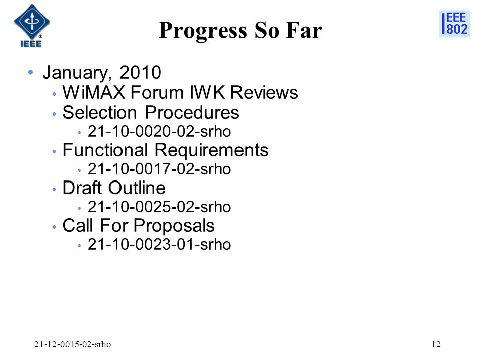 srho12 Progress So Far January, 2010 WiMAX Forum IWK Reviews Selection Procedures srho Functional Requirements srho Draft Outline srho Call For Proposals srho