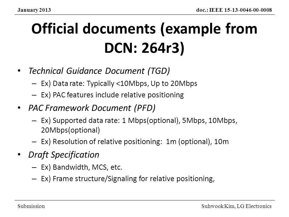 SubmissionSuhwook Kim, LG Electronics January 2013doc.: IEEE 15-13-0046-00-0008 Proposed procedure for PFD January meeting – Finalization of TGD – Call for Proposal March meeting – Selection Criteria discussion One week before May meeting – Submission deadline May/July meeting – Proposal presentation – Proposal evaluation September meeting – PFD work