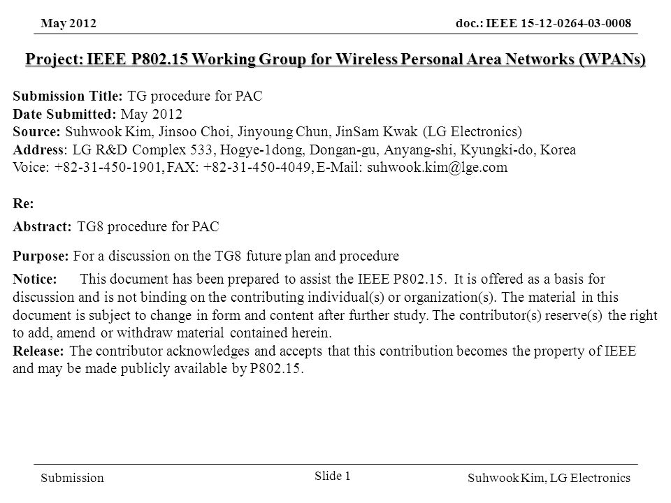 SubmissionSuhwook Kim, LG Electronics May 2012doc.: IEEE 15-12-0264-03-0008 Work procedure discussed (Mar.